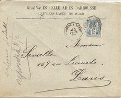 """SAGE Sur ENV De CRUVIERS-LASCOURS OBLI CONVOYEUR """" BESSEGES A NIMES """" Pour PARIS - Poststempel (Briefe)"""
