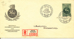 Finland Registered FDC 27-10-1948 Stamp Exhibition Helsinki With Cachet Sent To Sweden - FDC