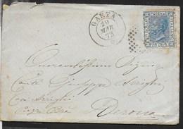 STORIA POSTALE REGNO - ANNULLO NUMERALE DC A PUNTI - GAETA 20.MAR.1873 SU BUSTINA PER VERONA - Marcophilia