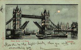 1902  VINTAGE HOLD TO LIGHT POSTCARD - LONDON UK TOWER BRIDGE HTL - Londres
