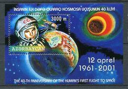 242 AZERBAIDJAN 2001 - Yvert BF 53 - Vaisseau Vostoc Youri Gagarine Espace - Neuf ** (MNH) Sans Trace De Charniere - Azerbaïdjan