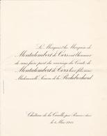 CHATEAU DE LA CUEILLE PAR PONCIN AIN  -  FAIRE PART MARIAGE DU COMTE DE MONTALEMBERT DE CERS 1911 - Wedding
