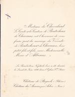 CHATEAU DE BAGNOLS - CHATEAU DES ARSURES PAR ARBOIS - FAIRE PART MARIAGE DU VICOMTE DE BOUTECHOUX DE CHAVANES - Wedding