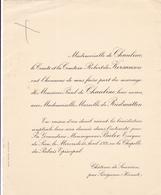 CHATEAU DE SAUVIAN PAR SERIGNAN HERAULT - FAIRE PART MARIAGE DE MONSIEUR PAUL DE CHAULIAC 1931 - Wedding