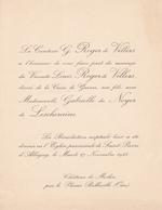 CHATEAU DE MESLIN PAR LE PLESSIS BELLEVILLE OISE - FAIRE PART MARIAGE DU VICOMTE LOUIS ROGER DE VILLERS 1923 - Wedding