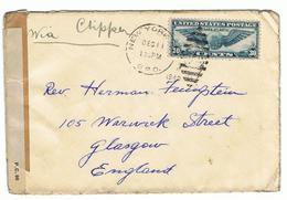 Mooie Militaire Post 1940 Met Censuur Stempel Via Clipper Verstuurd Naar USA Examiner 583 - Grande-Bretagne (ex-colonies & Protectorats)