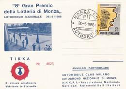 ITALIA  MARCOFILIA 8° GRAN PREMIO DELLA LOTTERIA DI MONZA 1966 CARTOLINA NUMERATA - 6. 1946-.. Repubblica