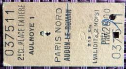 Ticket De Train - AULNOYE (Aulnoye-Aymeries) PARIS NORD De 1972 - Chemins De Fer