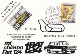 """ITALIA  MARCOFILIA 1^ MOSTRA MONDIALE """"L' AUTOMOBILE NEI FRANCOBOLLI"""" AUTODROMO DI MONZA 1966 CARTOLINA NUMERATA - Sin Clasificación"""