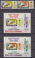Aden, Qu'aiti State In Hadhramaut 1967 Mi # 106-07 Bl 7 AB Mexico City Summer Olympics MNH OG - Verano 1968: México