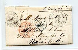 France - Lettre De Paris à New York Via Londres, Par La Cunard - Cachet FR 2F - 1871 - (B2041) - Marcophilie (Lettres)
