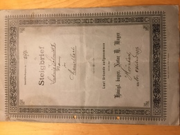 Steigbrief Von1889 ( Bayern/Pfalz ) - Diplome Und Schulzeugnisse