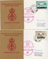 Great Britain 4 British Field Post Office 575 Cards With Cars Set - 1952-.... (Elizabeth II)