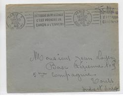 """1940 - ENV. FM Avec MECA De PROPAGANDE """"EDETRUIRE UN MENSONGE C'EST PRENDRE UN CANON..."""" => BASE AERIENNE 109 à TOURS - Marcophilie (Lettres)"""