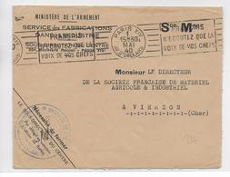 """1940 - ENV. FM Du MINISTERE De L'ARMEMENT - MECA De PROPAGANDE """"FRANCAIS N'ECOUTEZ QUE LA VOIX DE VOS CHEFS"""" => VIERZON - Marcophilie (Lettres)"""
