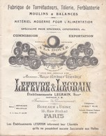 CATALOGUE PUBLICITAIRE FABRIQUE TORREFACTEURS TOLERIE FERBLANTERIE LEFEVRE LEGRAIN PARIS - Publicité