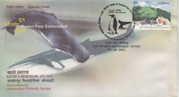 India  2003  Fishes  Whale  Shark  Penguin  Protect Polar Environment  Special Cover   # 16486  D  Inde Indien - Fishes
