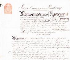 1881 Transcaucasian Railway; Memorandum Of Agreement Mit 6 Pence Steuerabschlag; Transkaukasische Eisenbahn. - Historische Dokumente
