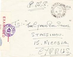 1945 Zensurierter Feldpostbrief Nach Cyprus Philatelic Stores In Nicosia; Rückseitig Ankunftstempel; Bedarfsspuren - Zypern (...-1960)