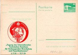 """(FC7) DDR Amtl. Ganzsache M.priv.Zudruck """"Neptunbrunnen,10Pf. Grün """"P84/C90 """"CTIF Dreden 1984"""" Ungebraucht - [6] Democratic Republic"""
