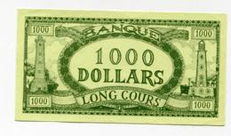 """Billet Fictif à Déterminer  """"1000 Dollars - Banque Long Cours"""" Phare - Bateau - Dollar Factice à Déterminer - Bank Note - Fictifs & Spécimens"""