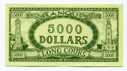 """Billet Fictif à Déterminer  """"5000 Dollars - Banque Long Cours"""" Phare - Bateau - Dollar Factice à Déterminer - Specimen"""
