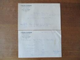 SAILLY LEZ CAMBRAI LUCAS-CAVROIS AGRICULTEUR-BRASSEUR VINS ET SPIRITUEUX FACTURES DES 23-3 ET 10-1949 - 1900 – 1949