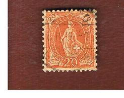 SVIZZERA (SWITZERLAND) -  SG 214 -  1882  STANDING HELVETIA 20  - USED - 1882-1906 Stemmi, Helvetia Verticalmente & UPU