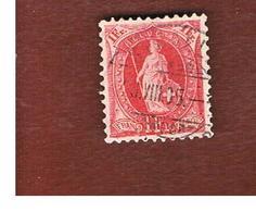 SVIZZERA (SWITZERLAND) -  SG 219   -  1882  STANDING HELVETIA 1 FR. RED  - USED - 1882-1906 Stemmi, Helvetia Verticalmente & UPU