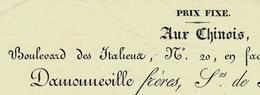1829  PARIS Boul. Des Italiens Etoffes De Soies Schalls Mérinos.Toiles Peintes AUX CHINOIS Prix Fixe Damonneville B.E - France