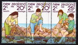 NEW ZEALAND, 1981 HEALTH STRIP 3 MNH - New Zealand