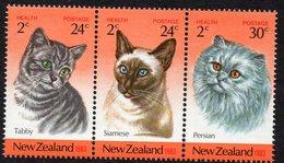 NEW ZEALAND, 1983 HEALTH/CATS STRIP 3 MNH - New Zealand