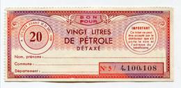 """Billet De Nécessité """"Bon Pour Vingt Litres De Pétrole Détaxé"""" Jeton-papier - Coupon Avant 1959 - Petrol Bank Note - Bons & Nécessité"""