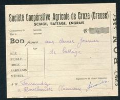 """Billet """"Bon Pour Une Demie Journée De Battage - Sté Coopérative Agricole De Croze (Creuse) Jeton-papier - Années 20/30 - Bons & Nécessité"""