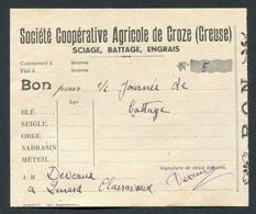 """Billet """"Bon Pour 1/2 Journée De Battage - Sté Coopérative Agricole De Croze (Creuse) Jeton-papier - Années 20/30 - Bons & Nécessité"""