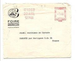 EMA SUR LETTRE A EN TETE POUR LA FRANCE FOIRE DE BRUXELLES 1963 - Franking Machines