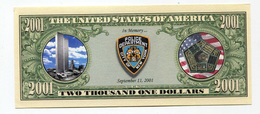 Beau Billet Fantaisie 2001 Dollars Police Department New York - Word Trade Center - Twin Towers - United States Banknote - United States Of America