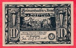 Allemagne 1 Notgeld De 1 Mark Stadt  Helmarshausen (RARE) Dans L 'état  N °2923 - [ 3] 1918-1933 : République De Weimar