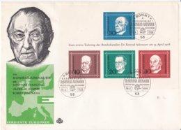 Germany FDC 1968 Dr. Konrad Adenauer Souvenir Sheet Bowed - Sheet Ok  (LAR5-59) - FDC: Buste