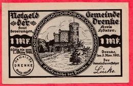 Allemagne 1 Notgeld De 1 Mark Stadt Drenke (RARE) Dans L 'état  N °2934 - [ 3] 1918-1933 : République De Weimar