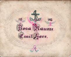 Ancien Faire-Part Maison Gaufré Original De 1898 Rosa Maurer & Emil Korr Sur Couronne Gaufrée Et Ancre De Marine, Dessin - Wedding