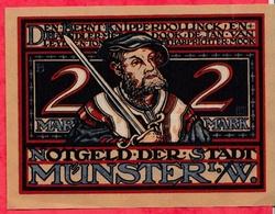 Allemagne 1 Notgeld De 2 Mark Stadt Münster (  RARE) Dans L 'état  N °2938 - [ 3] 1918-1933 : République De Weimar