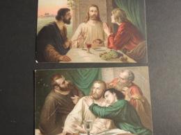 2 BELLES CPA RELIGIEUSES LE CHRIST ET SES APOTRES  ECRITES ANNEES 20  30 - Otros