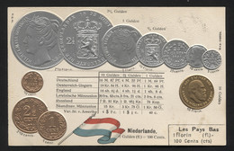 NETHERLANDS - Numismatic Postcard - Set Of Coins - Embossed (APAT#120) - Pays-Bas