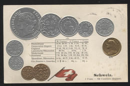 SWITZERLAND  - Numismatic Postcard - Set Of Coins - Embossed (APAT#123) - Other
