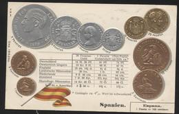SPAIN - Numismatic Postcard - Set Of Coins - Embossed (APAT#124) - Spain