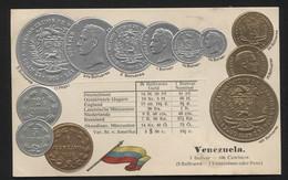 VENEZUELA - Numismatic Postcard - Set Of Coins - Embossed (APAT#126) - Venezuela