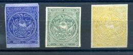 EQUATEUR 1865 N° 1/2/3 MLH (trace De Charnière) - Ecuador