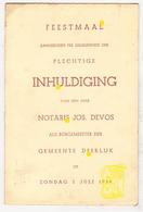 Menu 1939 Foto Inhuldiging Burgemeester WO II Deerlijk Notaris Joseph Devos ° Roeselare † Cannes / P. Pouleyn / DeKnudt - Menus