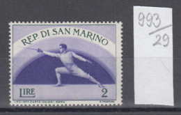 29K993 / SPORT  Fencing Escrime Fechten , SAN MARINO ** MNH - Fencing